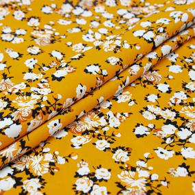 Ткань на отрез штапель 145 см 2912 Вид 2 Цветы на горчичном фото
