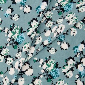 Ткань на отрез штапель 145 см 2912 Вид 4 Цветы на фисташковом фото