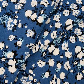 Ткань на отрез штапель 145 см 2912 Вид 5 Цветы на синем фото
