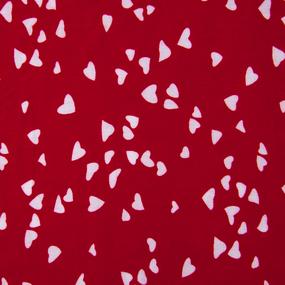 Ткань на отрез штапель 145 см 3012 Вид 1 Сердечки на красном фото