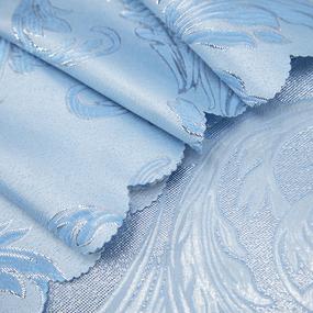 Портьерная ткань с люрексом 150 см на отрез Х7187 цвет 3 голубой вензель фото
