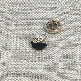 Пуговица ПР200 11 мм черная золото уп 12 шт фото