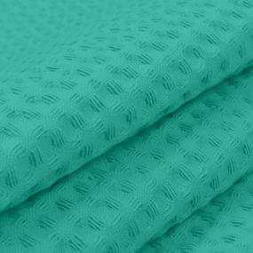 Ткань на отрез вафельное полотно гладкокрашенное 150 см 240 гр/м2 7х7 мм цвет 530 изумруд фото
