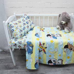 Постельное белье в детскую кроватку из перкаля 16250/1+13179/1 с простыней на резинке 160/80/15 фото