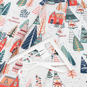 Ткань на отрез рогожка 150 см 29039/1 Merry Christmas фото