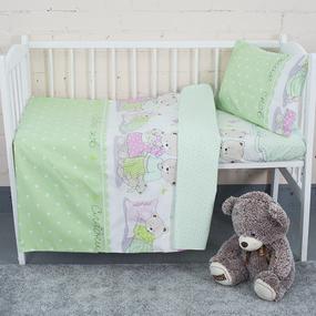 Постельное белье в детскую кроватку из поплина 1703/3 салат с простыней на резинке фото