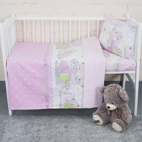 Постельное белье в детскую кроватку из поплина 1703/4 розовый с простыней на резинке фото