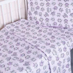 Постельное белье в детскую кроватку из поплина 1769/8 розовый с простыней на резинке фото