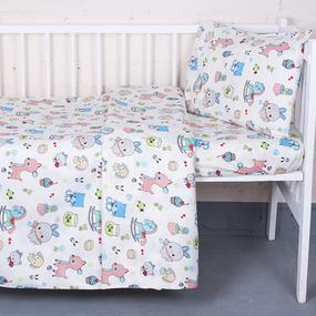 Постельное белье в детскую кроватку из поплина 1822/1 с простыней на резинке фото