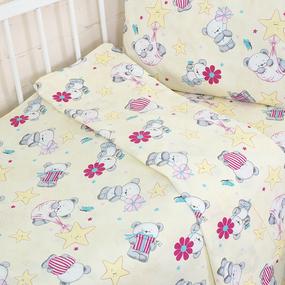 Постельное белье в детскую кроватку 1835/1 поплин с простыней на резинке фото