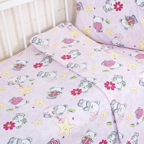 Постельное белье в детскую кроватку 1835/3 поплин с простыней на резинке фото