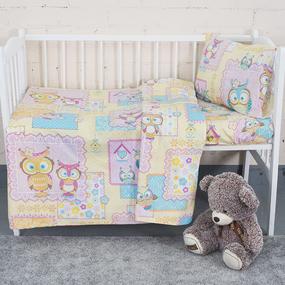 Постельное белье в детскую кроватку из поплина 1696/1 с простыней на резинке фото