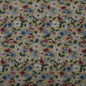 Ткань на отрез штапель 150 см 2445 Цветы на горчичном фото