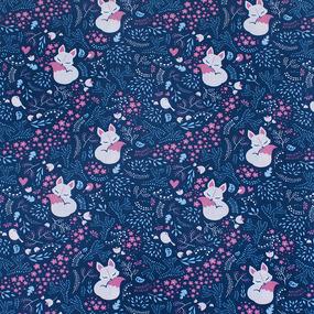 Бязь 120 гр/м2 детская 150 см 7247/2 Лисички цвет синий фото