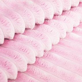 Плюш Минки Полоса Китай 180 см на отрез цвет розовый фото