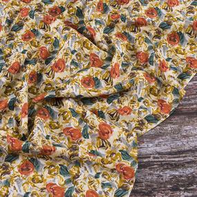 Ткань на отрез штапель 145 см 20065 Желтые цветы фото