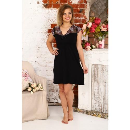 Сорочка Амелия С Кружевом Черная С Розовыми Цветами А41 р 48 фото 1