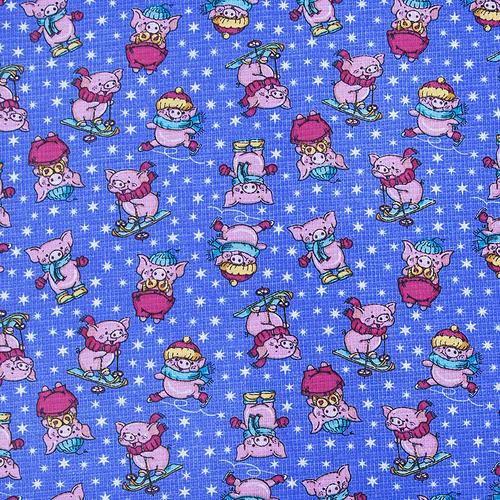 Ткань на отрез вафельное полотно набивное 150 см 1057/1 Веселая прогулка цвет голубой фото 1