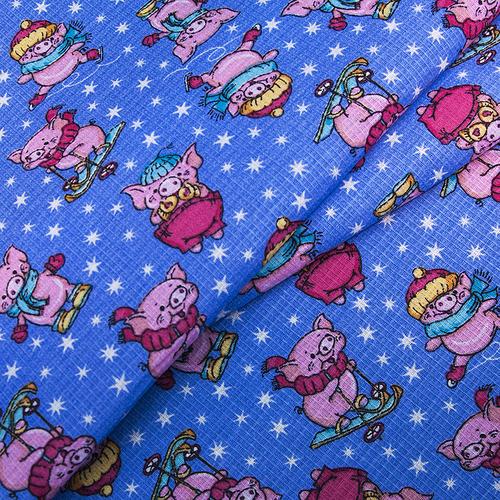 Ткань на отрез вафельное полотно набивное 150 см 1057/1 Веселая прогулка цвет голубой фото 3