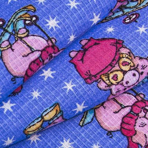 Ткань на отрез вафельное полотно набивное 150 см 1057/1 Веселая прогулка цвет голубой фото 4
