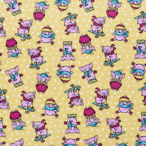Ткань на отрез вафельное полотно набивное 150 см 1057/2 Веселая прогулка цвет жёлтый фото 1