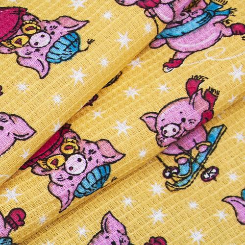 Ткань на отрез вафельное полотно набивное 150 см 1057/2 Веселая прогулка цвет жёлтый фото 4
