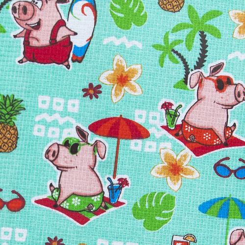 Ткань на отрез вафельное полотно набивное 150 см 7706/2 Свинки на пляже цвет мята фото 2