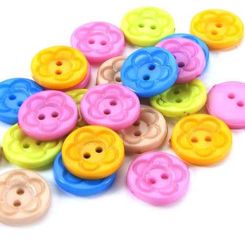 Пуговица детская на два прокола кругл Цветок 15 мм цвет голубой упаковка 50 шт фото 1