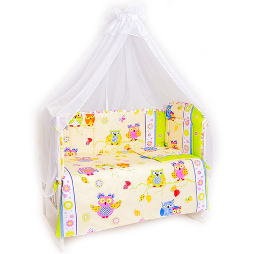 Набор в кроватку 4 предмета с оборками Совы фото 1
