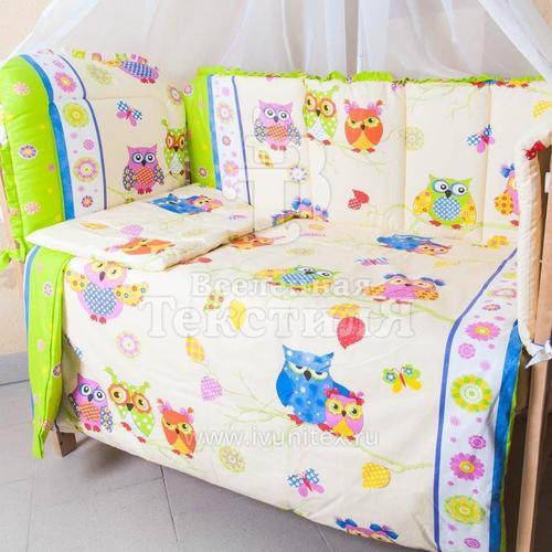 Набор в кроватку 4 предмета с оборками Совы фото 2