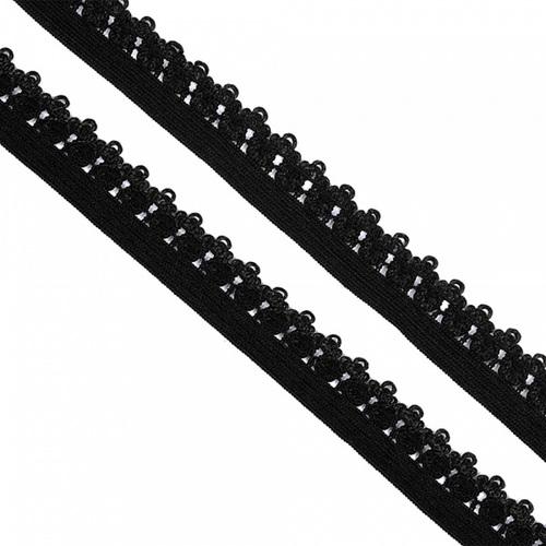 Резинка TBY бельевая 12 мм RB01322 цвет F322 черный 1 метр фото 1