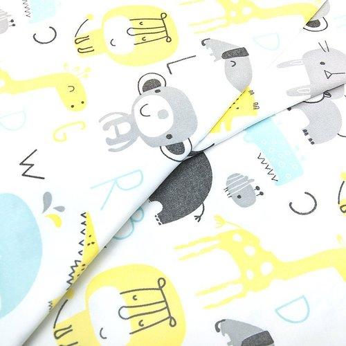 Ткань на отрез интерлок пенье Буквы с животными голубой 5707-17 фото 4