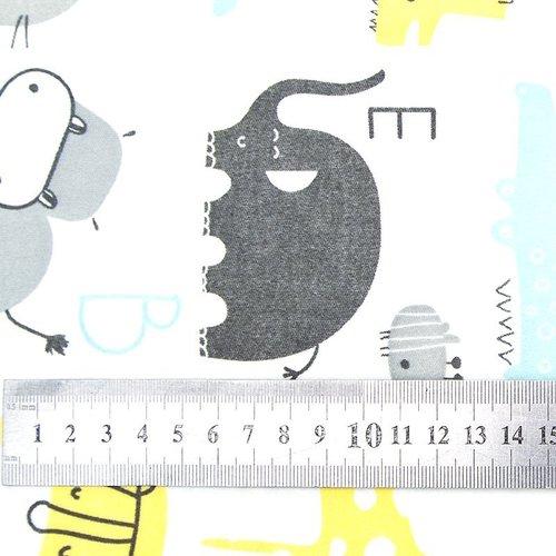 Ткань на отрез интерлок пенье Буквы с животными голубой 5707-17 фото 3