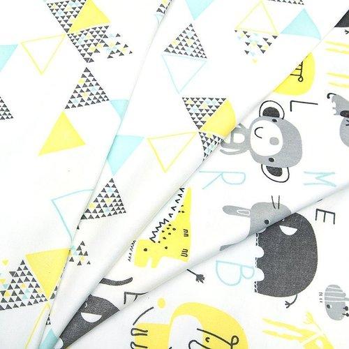 Ткань на отрез интерлок пенье Буквы с животными голубой 5707-17 фото 2