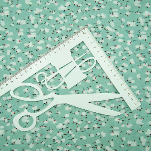 Ткань на отрез штапель 150 см Бутоны на мятном фото 5
