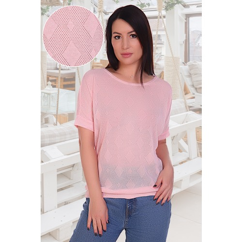 Блузка Ажур 11012 розовая р 52 фото 1