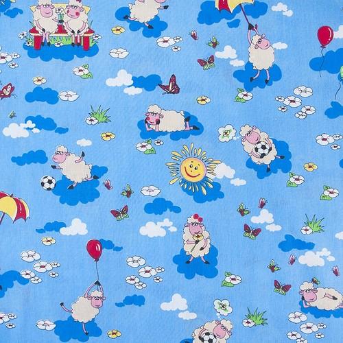Маломеры бязь ГОСТ детская 150 см 317/1 Овечки цвет синий 10.8 м фото 1