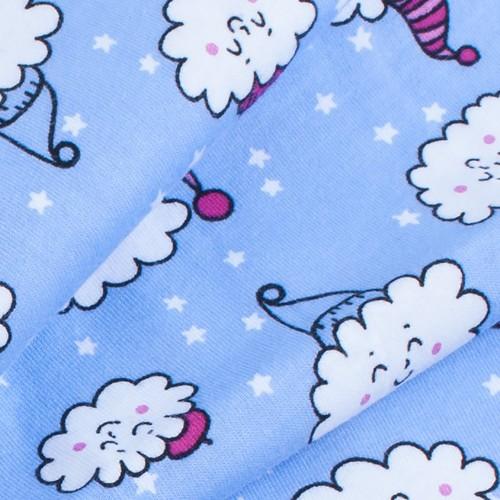 Ткань на отрез кулирка карде Облака на голубом R-R5079-V2 фото 4