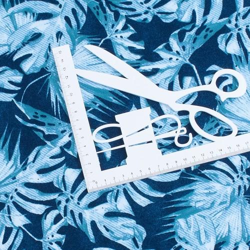 Ткань на отрез интерлок пенье Монстера мятная R-R6058-V1 фото 2