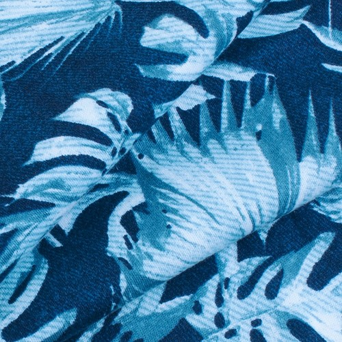 Ткань на отрез интерлок пенье Монстера мятная R-R6058-V1 фото 3