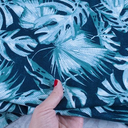 Ткань на отрез интерлок пенье Монстера мятная R-R6058-V1 фото 4
