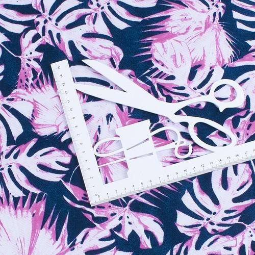 Ткань на отрез интерлок пенье Монстера розовая R-R6058-V3 фото 3