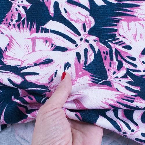 Ткань на отрез интерлок пенье Монстера розовая R-R6058-V3 фото 4