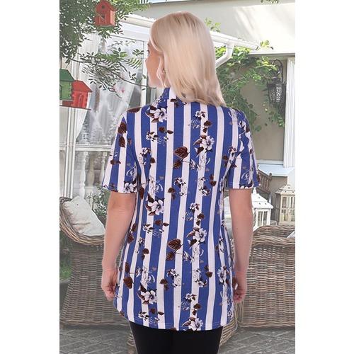 Блузка 3621 синяя р 50 фото 2