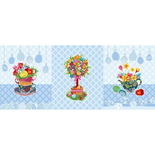 Ткань на отрез вафельное полотно набивное 150 см 3020-1 Пасхальное дерево цвет голубой фото 1