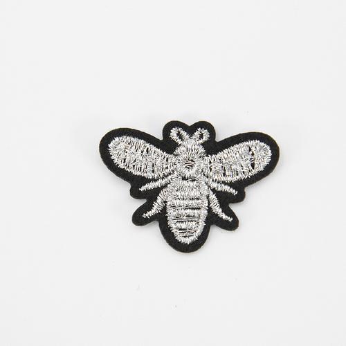 Аппликация Пчелка серебро термо 3,5*2,5см фото 1