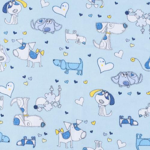 Ткань на отрез фланель грунт 150 см 21236/1 Собачки цвет голубой фото 1