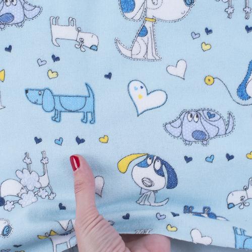 Ткань на отрез фланель грунт 150 см 21236/1 Собачки цвет голубой фото 2