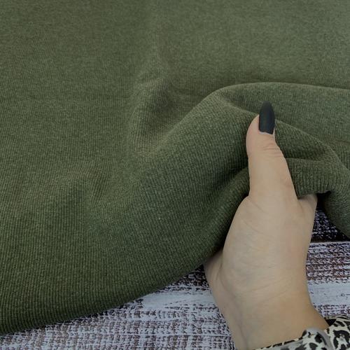 Ткань на отрез кашкорсе с лайкрой Melange 2307-1 цвет хаки фото 3