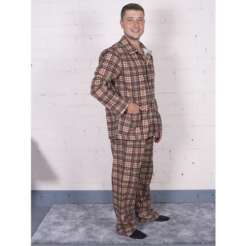 Пижама мужская фланель клетка 52-54 цвет коричневый фото 2